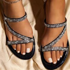 Mulheres PU Sem salto Sandálias Chinelos com Strass Oca-out sapatos