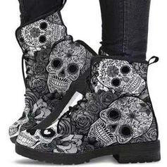 Mulheres PU Salto robusto Botas Martin botas com Aplicação de renda Estampa floral sapatos