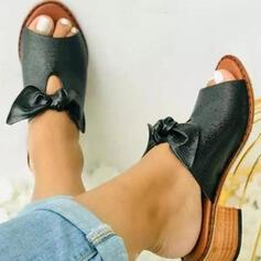 Mulheres PU Salto robusto Sandálias Bombas Chinelos com Bowknot Oca-out Cor sólida sapatos