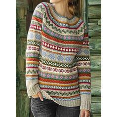 Imprimeu Bucată tricotată Guler Rotund Comod Kazaklar
