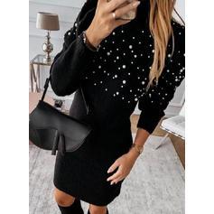 Solid Polotröja Casual Tröja klänning