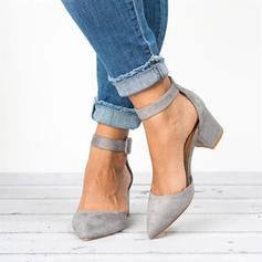 Mulheres PU Salto agulha Bombas Fechados com Fivela sapatos