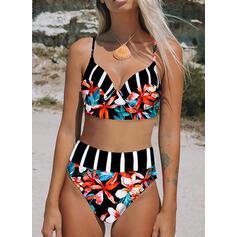 Stripe Print Push Up Strap V-Neck Fresh Bikinis Swimsuits