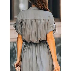 Solid Short Sleeves A-line Little Black/Casual/Elegant Midi Dresses