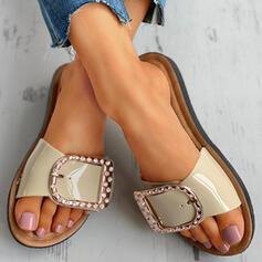 ПВХ Плоский каблук Сандалии Peep Toe Домашние тапочки с горный хрусталь обувь