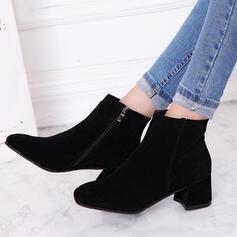 Mulheres Camurça Salto robusto Bota no tornozelo Toe quadrado com Zíper Cor sólida sapatos