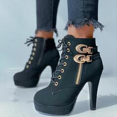 De mujer PU Tacón ancho Botas al tobillo Tacones Encaje con Rivet Cremallera zapatos
