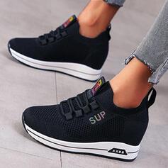 Mulheres Pano Espadrille Heel Sem salto Toe rodada com Aplicação de renda sapatos