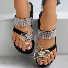 Női Műbőr Selyemszerű a szatén Lapos sarok Szandál Papucs Toe Ring -Val Hegyikristály Pillangó cipő