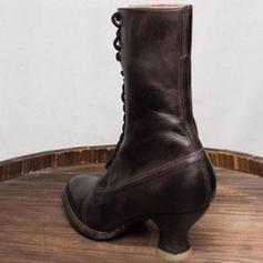 Pentru Femei PU Toc gros Cizme cu Lace-up pantofi