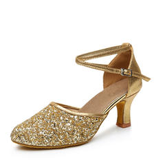 Women's Ballroom Heels Leatherette Sparkling Glitter With Ankle Strap Ballroom