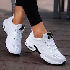 Mulheres Tecido Sem salto Sem salto Low Top Toe rodada Tênnis com Aplicação de renda Cor sólida sapatos