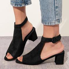 Bayanlar Süet Tıknaz Topuk Sandalet Peep Toe Ile Toka ayakkabı