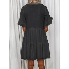 Solid Kortermer Kvinnedrakt Overknee Casual Tunika Kjoler