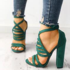 Bayanlar Süet Sandalet Pompalar Peep Toe topuk Ile Toka ayakkabı
