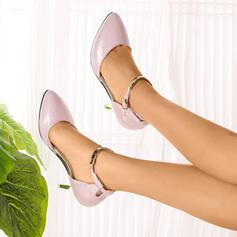 Женский PU Стилет каблук Насосы Закрытый носок с пряжка обувь