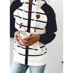 Color Block Striped Pockets Long Sleeves Hoodie