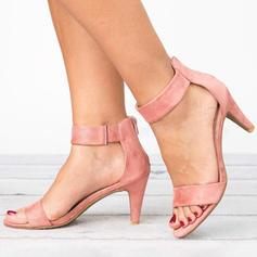 Kvinner Stoff Lav Hæl Sandaler med Glidelås sko