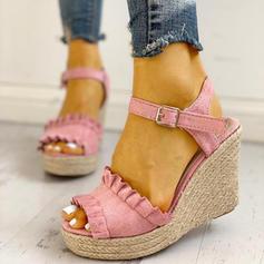 Bayanlar PU Sivri topuk Sandalet Peep Toe Ile Toka ayakkabı