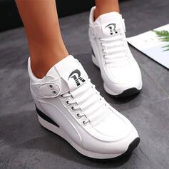 De mujer PU Tipo de tacón Botas al tobillo Encaje Botas de invierno con Cordones Velcro Color sólido zapatos