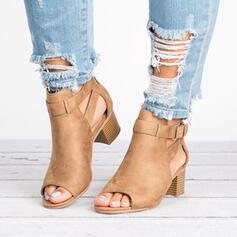 Femmes PU Talon bottier Bottines avec Boucle chaussures