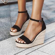 De mujer PU Tipo de tacón Sandalias Salón Plataforma Cuñas Encaje Tacones con Hebilla Color sólido zapatos