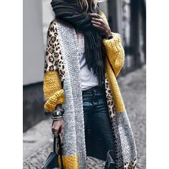 Barevný blok leopard Neformální Dlouhé Kardigan