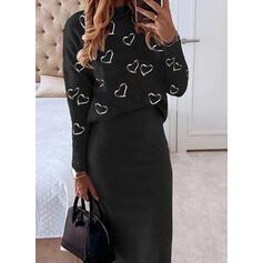 Print/Heart Long Sleeves Bodycon Pencil Casual Midi Dresses
