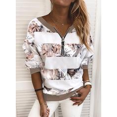 Print Floral Striped V-Neck Long Sleeves Sweatshirt