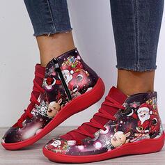 Pentru Femei PU călcâi plat Botine Deget rotund cu Lace-up Floare Splice Color pantofi