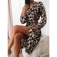 Leopardo Manga Larga Acampanado Bolero/Patinador Casual Midi Vestidos