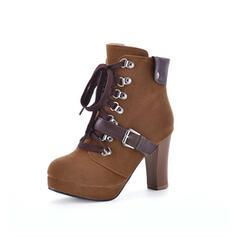 Női Szarvasbőr Tűsarok Bokacsizma Kerek lábujj -Val Lace-up cipő