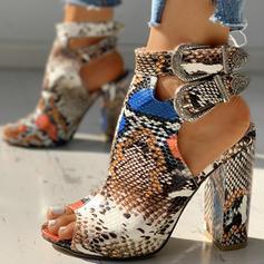 De mujer PU Tacón ancho Sandalias Salón Encaje Tacones con Hebilla Estampado de animales zapatos