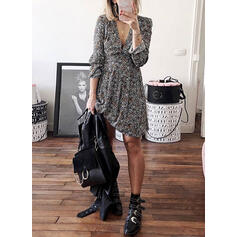 Print/Floral 3/4 Sleeves A-line Knee Length Casual/Elegant Dresses