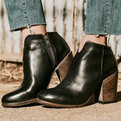 De mujer PU Tacón ancho Botas con Cremallera zapatos