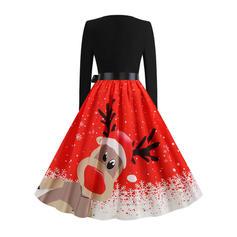 Długie rękawy W kształcie litery A Długośc do kolan Wintage/Boże Narodzenie/Przyjęcie/Elegancki Łyżwiaż Sukienki