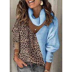 Bloque de Color Leopardo Cuello De Tortuga Casuales Suéteres