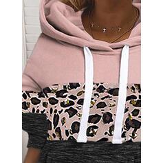 Цветной блок леопард Длинные рукова Толстовка с капюшоном
