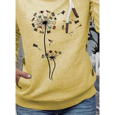 Print Dandelion Pockets Long Sleeves Hoodie