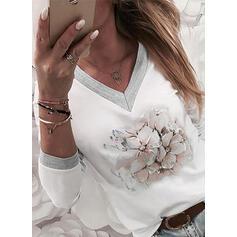 Trykk Blomstrete V-hals Lange ermer Casual T-skjorter