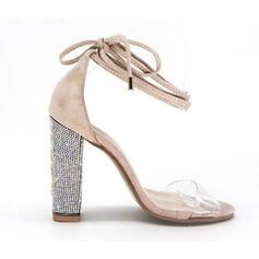 Mulheres Couro Salto robusto Sandálias Bombas Peep toe Saltos com Aplicação de renda sapatos