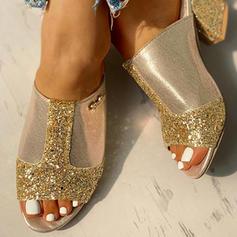 Női PU Chunky sarok Szandál Peep Toe Papucs -Val Flitter cipő