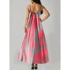 Tie Dye Bez rękawów W kształcie litery A Halka/Łyżwiaż Casual/Wakacyjna Maxi Sukienki