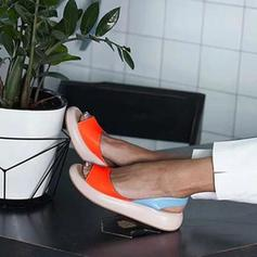 Kvinner PU Flat Hæl Sandaler Flate sko Titte Tå med Annet sko