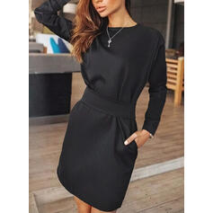 Solid Long Sleeves Sheath Knee Length Little Black/Casual Dresses