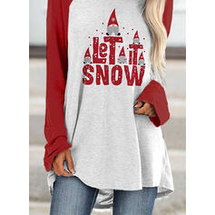 Print Color Block Figure Round Neck Long Sleeves Casual Christmas T-shirts