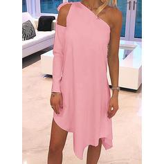 Jednolita Długie rękawy Koktajlowa Asymetryczna Casual Tunika Sukienki