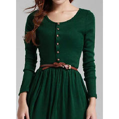 Solid Long Sleeves A-line Knee Length Dresses