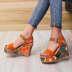 Dámské Semiš Klínový podpatek Sandály Boty na klínu S otevřenou špičkou S Vydlabaný Splice Color obuv