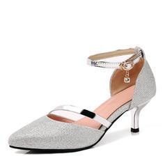 Női Műbőr Tűsarok Magassarkú Zárt lábujj Mary Jane -Val Hegyikristály Csat Egyéb cipő